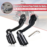 180 degree adjustable Pair Motorcycle Rear Black Long Footrest Pegs Pedals For Harley with Allen Keys 32mm/1.25 1 1/4