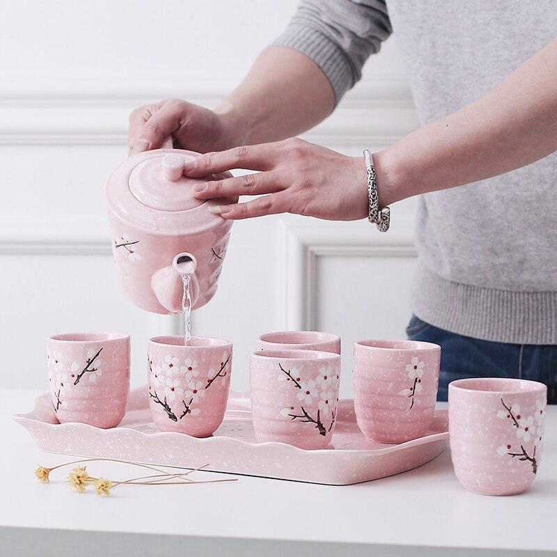 Japonais Coréen cerise blossom céramique théière Kungfu thé ensemble tasse pot plaque plateau sakura Chinois teaware cadeau boîte