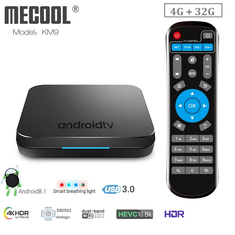 MECOOL KM9 boîtier de smart tv Android 8.1 Amlogic S905X2 4 GB LPDDR4 32 GO EMMC ROM Bluetooth 4.2 100 M Set Top boîte 4 K lecteur multimédia