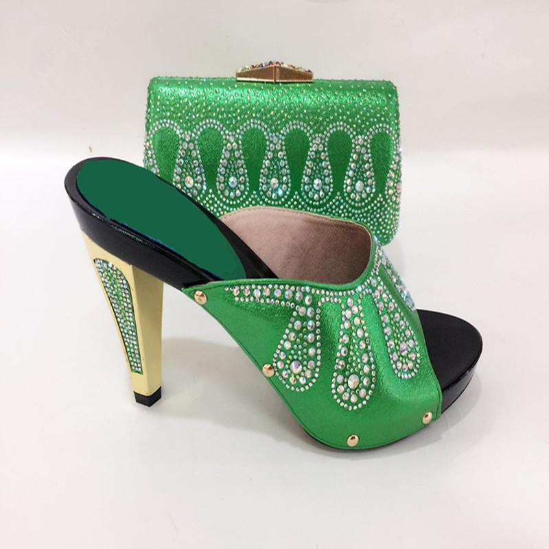adc4c177b9c 663-2 green Shoes and Matching Bags Set Decorated with Rhinestone Italian  Shoes with Matching Bag Set African for Wedding