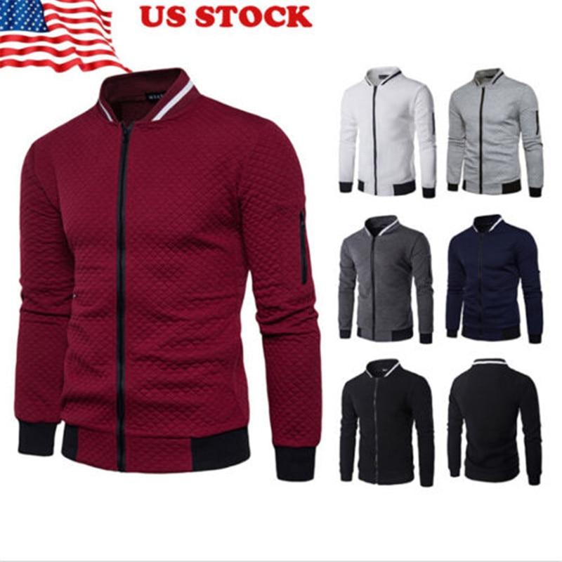 US Men's Winter Casual Warm Long Sleeve  Coat Jacket Outwear  Slim Zipper Patchwork Jacket For Fashion Men