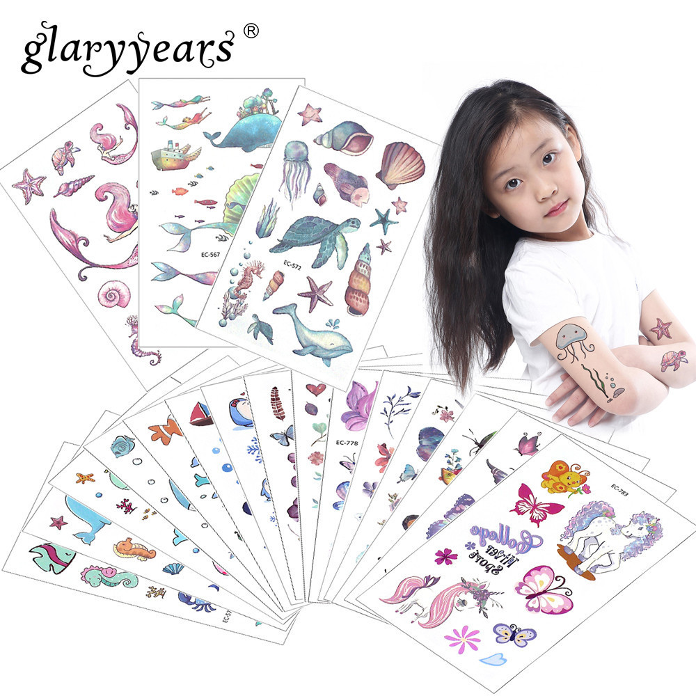 Glaryyears 3 Pcs/Set Temporary Tattoo Sticker Hot Fake Tatoo Tortoise Flash Tatto Waterproof Small Body Art Children 10 Designs
