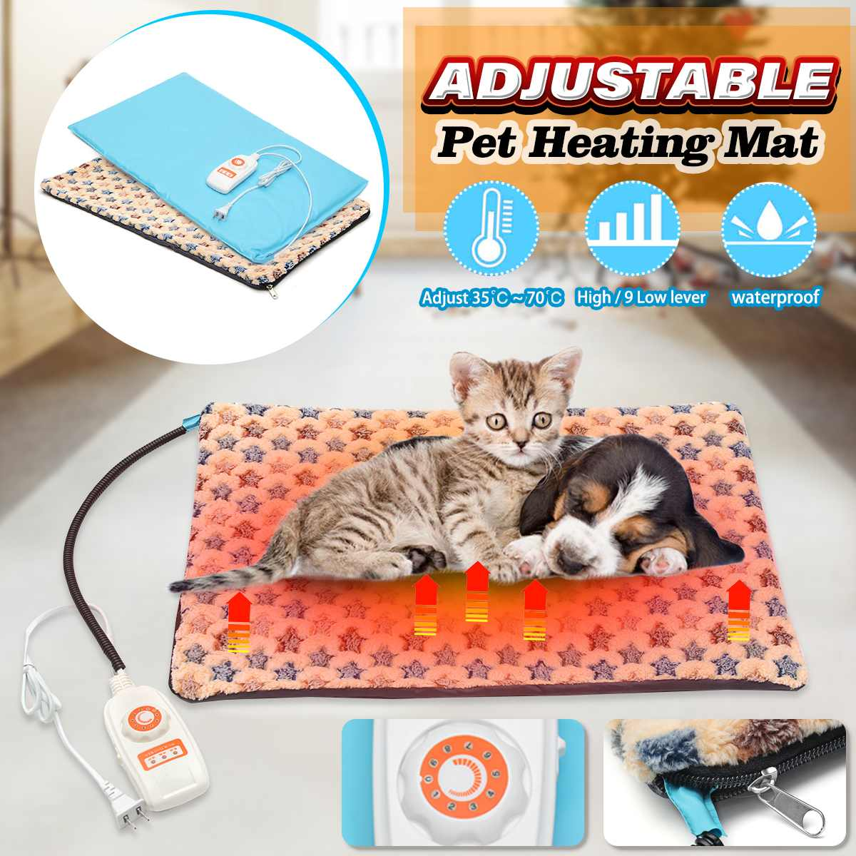 10 Level 40x60cm Electric Heater Waterproof Adjustable Heated Mat Dog Cat Pet Heating Pad Bed Blanket Winter Heated Glove Carpet