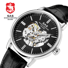 Sas Shark Business Men Watches Automatic Mechanical Watches For Men Hollow Leather Wristwatch Mens Skeleton Watch zegarek meski