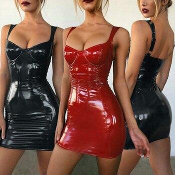Black Sexy Bodycon Summer Dress 2019 Spaghetti Strap Bandage Mini Dress Party Casual Basic Latex Faux Leather Dress
