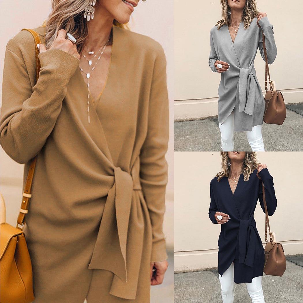 Купить 2018 Женское шерстяное пальто кардиган сексуальный v образный вырез  на шнуровке Длинные пальто осень зима Верхняя одежда Повседневная Женска.. 5de127b1f6b74