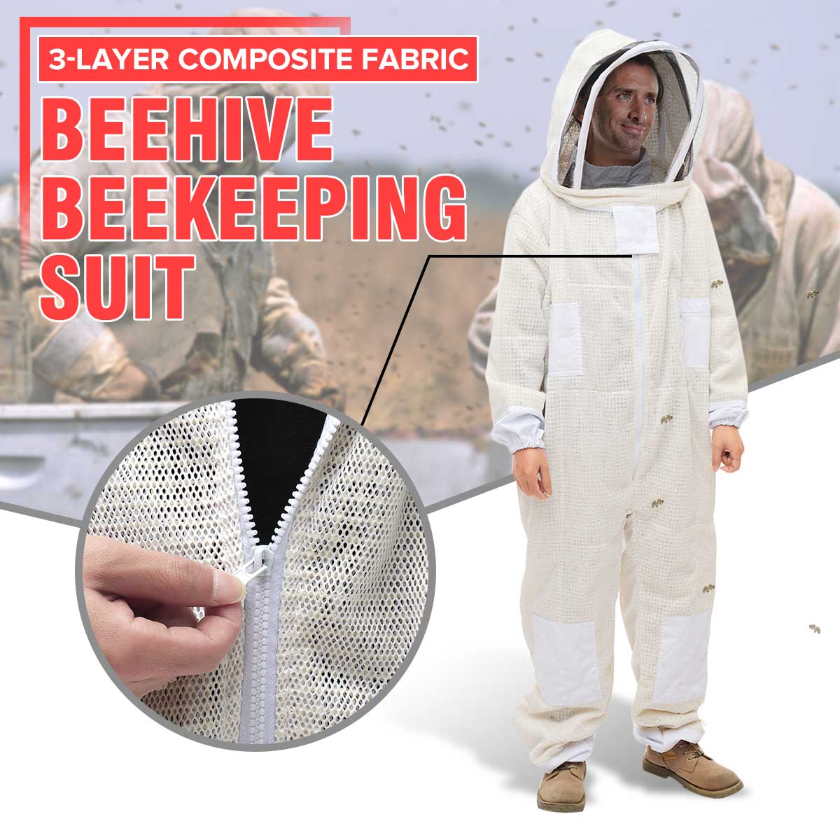 3 Layer Beekeeping Beekeeper Bee Suit Breathable Siamese Design HD Surface Net Protective Suit Full Body Beekeeping Clothing Hat3 Layer Beekeeping Beekeeper Bee Suit Breathable Siamese Design HD Surface Net Protective Suit Full Body Beekeeping Clothing Hat
