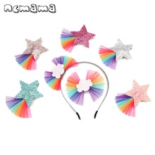 ncmama Rainbow Yarn Hair Bows for Girls Shiny Glitter Star Clip Hairgrips Kids Party Princess Band Accessories