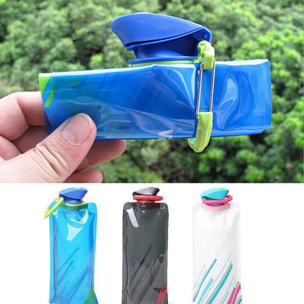 New Fashion 700ml Reusable Foldable Flexible Water Bottle Pouch Bag Camping Hiking Tool-in Water Bags from Sports & Entertainment