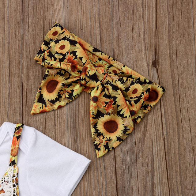 Sunflower Newborn Baby Girl Clothes Short Sleeve White T-shirt Tops Floral Lace Strap Romper Overalls Headband 3PCS Clothing Set