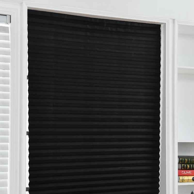 Self-Adhesive Pleated Blinds Half Blackout Windows Curtains for Kitchen Bathroom Balcony Shades For Coffee/Office Window