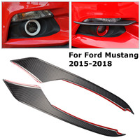Car Styling Black Carbon Fiber Front Head Fog Light Lamp Eyebrow Cover Automobile Bumper Eyelids For Ford Mustang 2015 2018