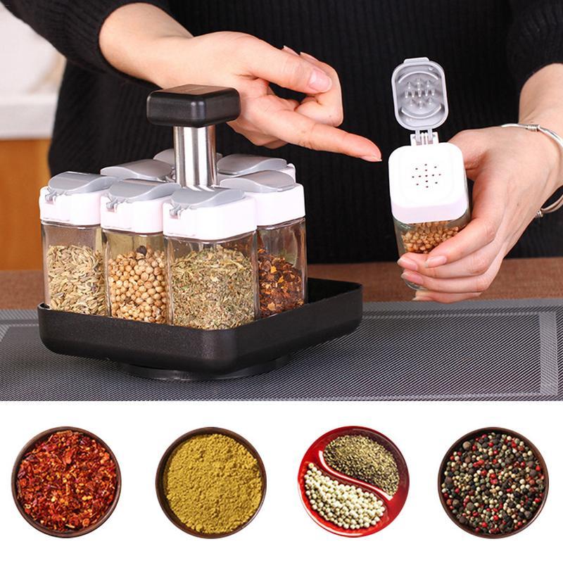 Rotativa 9 Pedaço Tempero Pode Condimento Frasco De Vidro De Tempero spice Rack rack de porta arma sal tempero sal e pimenta tempero jar