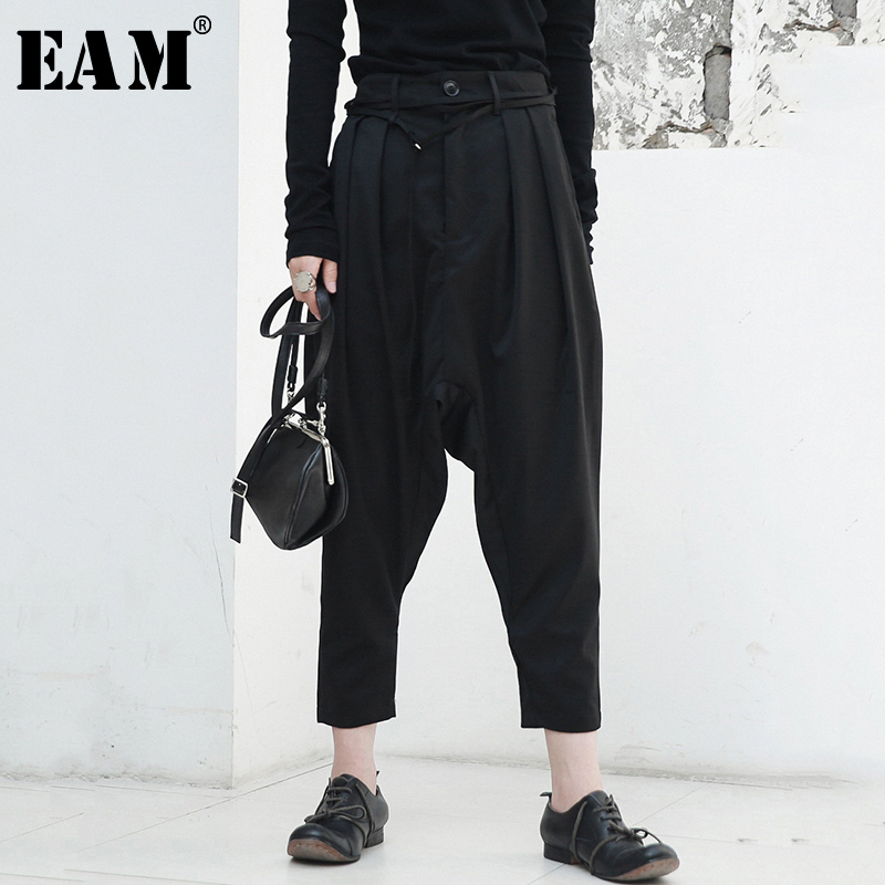 EAM 2019 New Spring High Waist Black Fold Split Joint Loose Brief Personality Cross pants