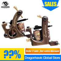 Free Shipping 2 pcs Pure Copper Tattoo Guns 10 Wraps Liner And Shader Top Quality Tattoo Machine Set
