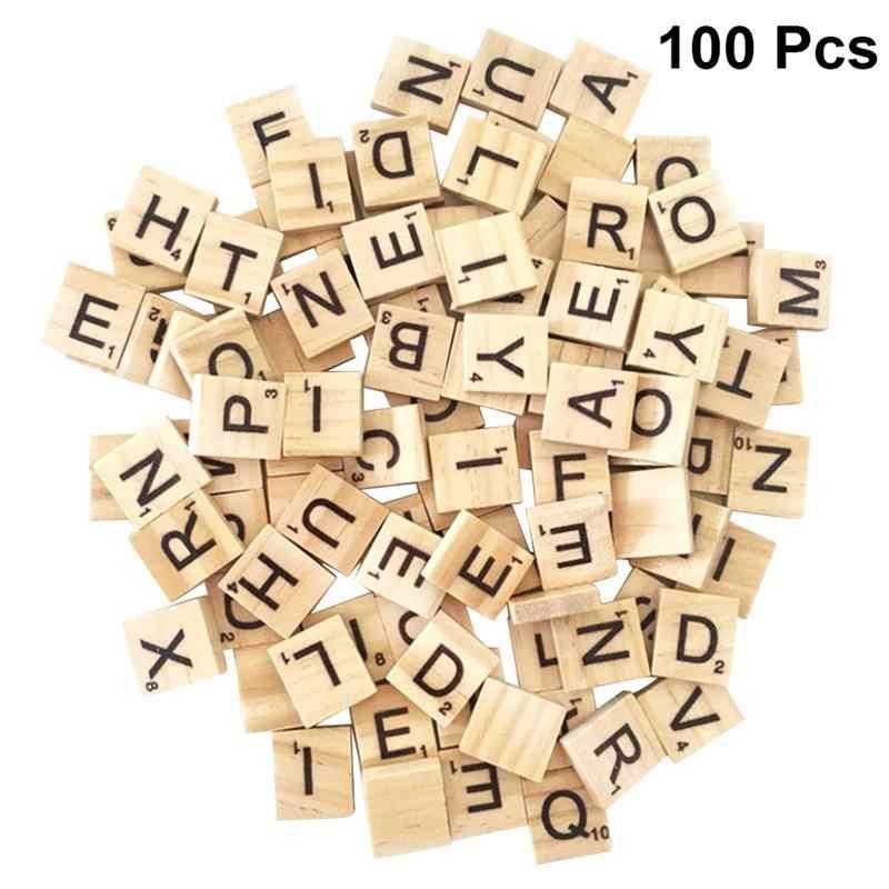 100 шт детское дерево чипы интеллектуальные 26 английские буквы натуральные DIY Квадратные блоки Деревянные Кубики Алфавит головоломка Декор ремесла