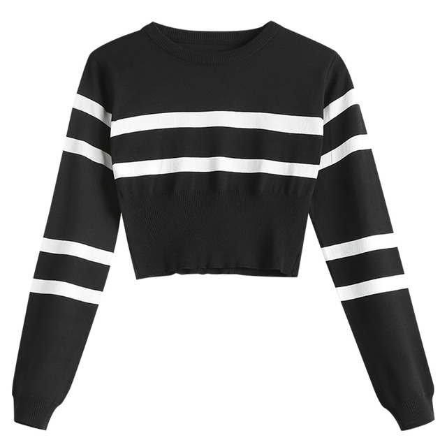 3646258938 Wipalo Black White Striped Sweater Women Spring Knitted Crop Tops Long  Sleeve Color Block Pullovers Slim Elastic Autumn Jumper