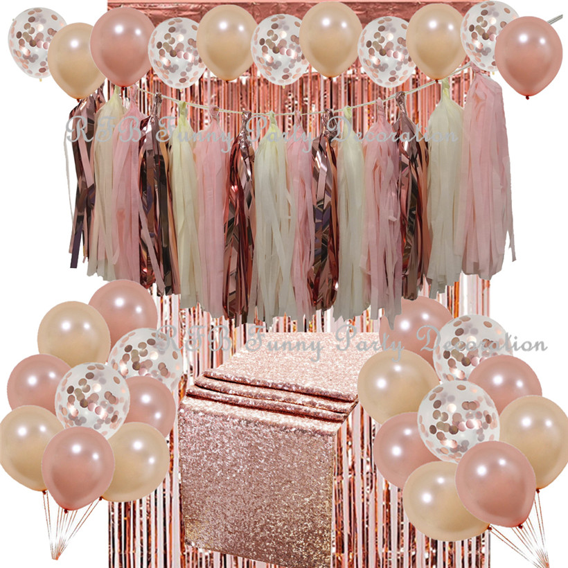 Rose Gold Party Decoration Set Table Runner Confetti Balloon Tassel Garland Luxurious Theme for Wedding Showers Event Birthday