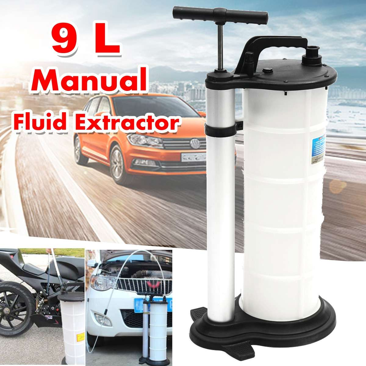 9L Vacuum Oil Fluid Suction Extractor Changer Manual Car Fuel Pump Tank Remover