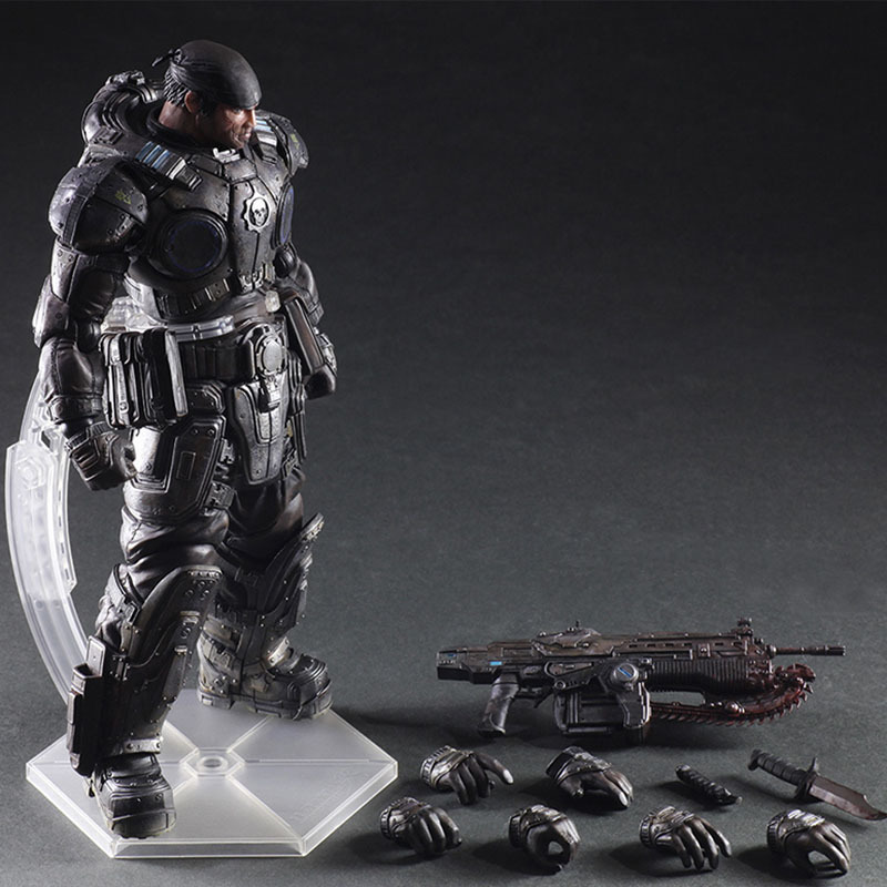 27cm Play Arts Kai Pa Marcus Fenix Game Gears Of War 3 Machine Action Figure Collection Model Toy Chrismas Gift Present For Kids
