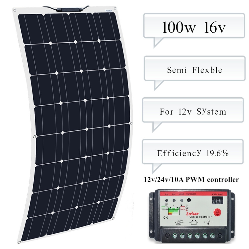 100w solar panel Cell Module flexible 10A Controller regulator for Caravan RV Boat Yacht Car Home Roof 12v Battery Power Charger