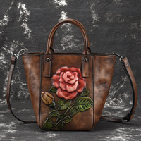 High Quality Genuine Leather Top Handle Cross Body Bag Rose Pattern Tote Vintage Women Natural Skin Messenger Shoulder Bags New