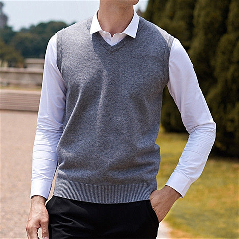 Cheap Price Llyge Cotton Men V Neck Vest Sweater Top Black Slim Sleeveless Knitted Pullover Sweaters Tops For Mens Mlae Streetwear Clothes Pullovers