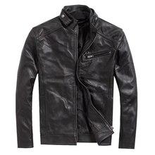 Весенняя модная натуральная кожаная куртка Мужская классическая дизайнерская мотоциклетная куртка из натуральной кожи Мужская черная овечья куртка M-5XL