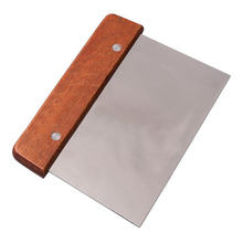 Kitchen Pastry Tool 15x8cm Stainless Steel Cutter Smooth Edge Dough Cake Spatula Scraper with Wood Handle
