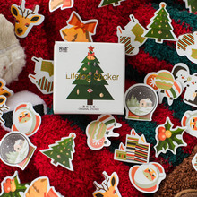 50PCs/Box Christmas Trees Stickers Kawaii Deer Decorative Adhesive Cute Decorations Scrapbooking Diary Albums