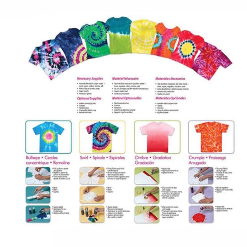 12 cores DIY Um Passo Kit Tecido Têxtil Tinta Permanente Vibrante Cor Da Tintura do Laço Para Vestuário Artesanato Morrendo de Reposição com luvas