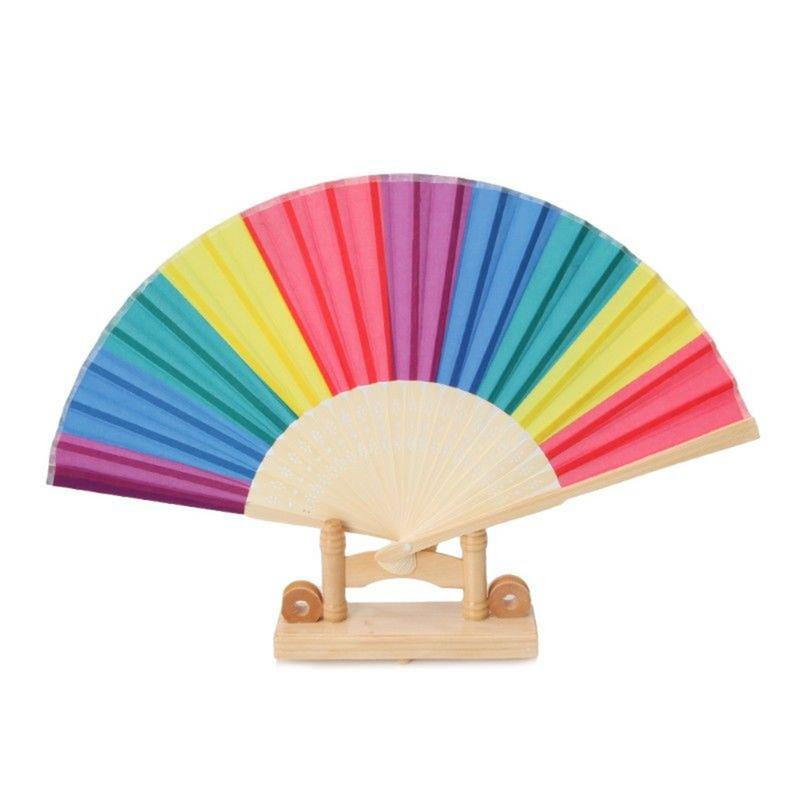 7-inch Colorful Rainbow Hand Fan Bamboo Bones Dacron Fan Natural Bright Color Home Decoration