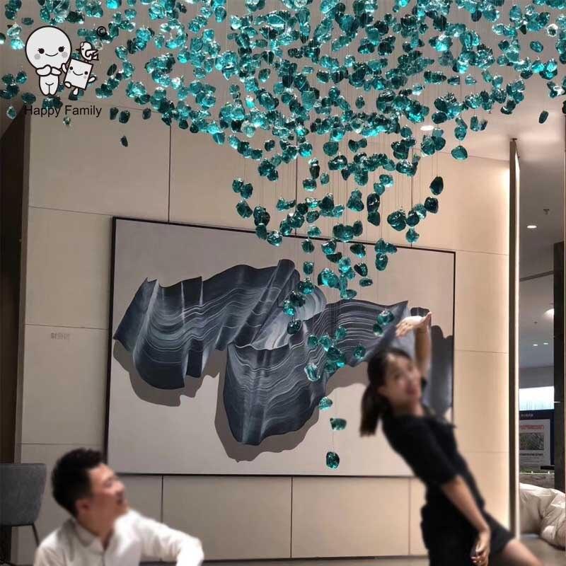 Grand lustre en pierre de cristal personnalisé luminaire Art déco grand plafonnier suspendu Design hôtel Restaurant Villa projet