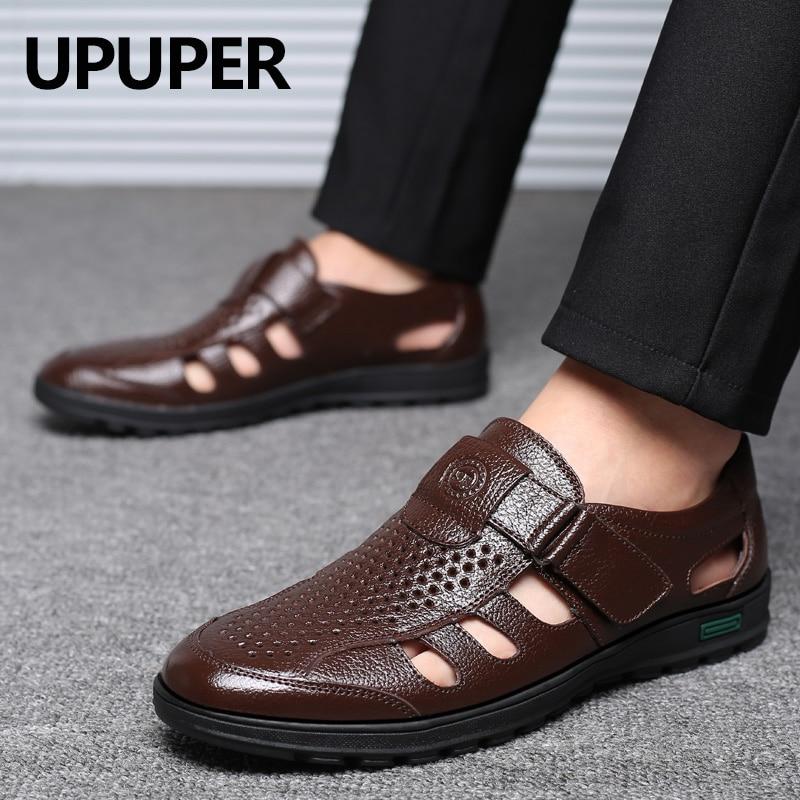 UPUPER 2019 Summer Mature Men Sandals Leather Sandals Men Leather Sandals For Men Black Dress Shoes Sandalias Big Size 38-48