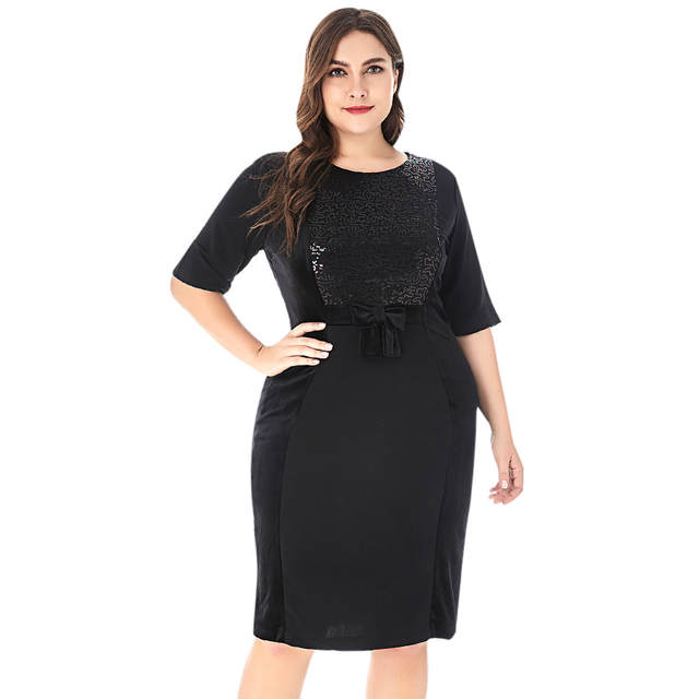 1935702e7a009 Wipalo Women Round Collar Half Sleeve Sequins Bowknot Plus Size Bodycon  Dress Elegant Solid Knee Length Party Dress 6XL Vestidos