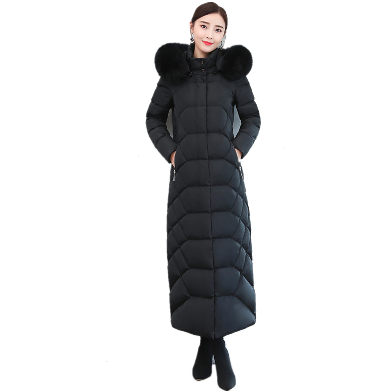 High Quality New Women Winter Jacket Female X-Long Parka With Natural Fox Fur Collar Thicken Warm Plus Size Hooded   Down     Coats