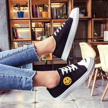 Women Canvas Shoes Smiley Face Lace Up Woman Vulcan
