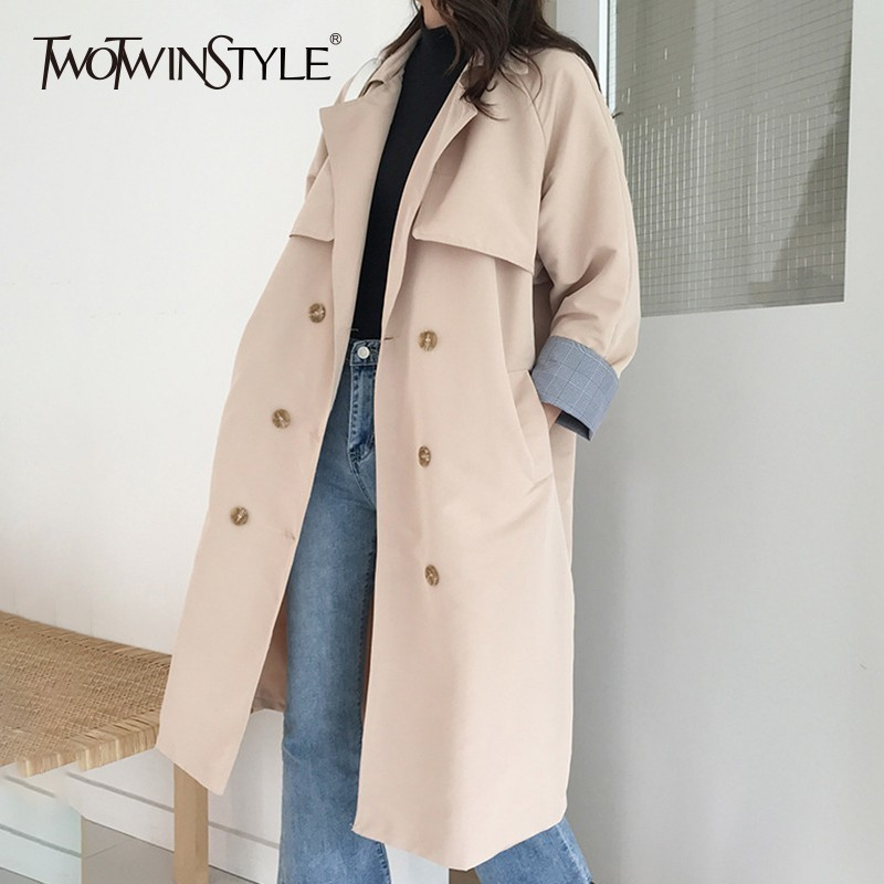 TWOTWINSTYLE Autumn   Trench   Coat For Women's Windbreaker Lapel Long Sleeve Double Breasted Windbreakers Fashion Casual Clothes