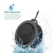 Bluetooth  Wireless Waterproof Speaker Hands-Free Shower With 5W Driver Suction Cup Black Portable Superbass