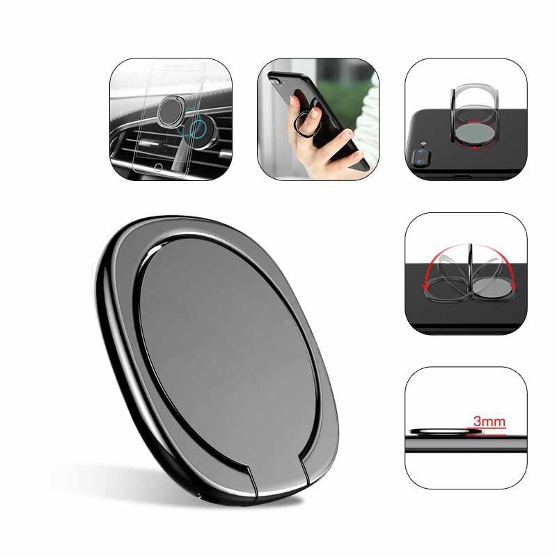 Metal Mobile Phone Socket Holder Universal 360 Degree Rotation Finger Ring Holder Magnetic Car Bracket Stand Accessories D18