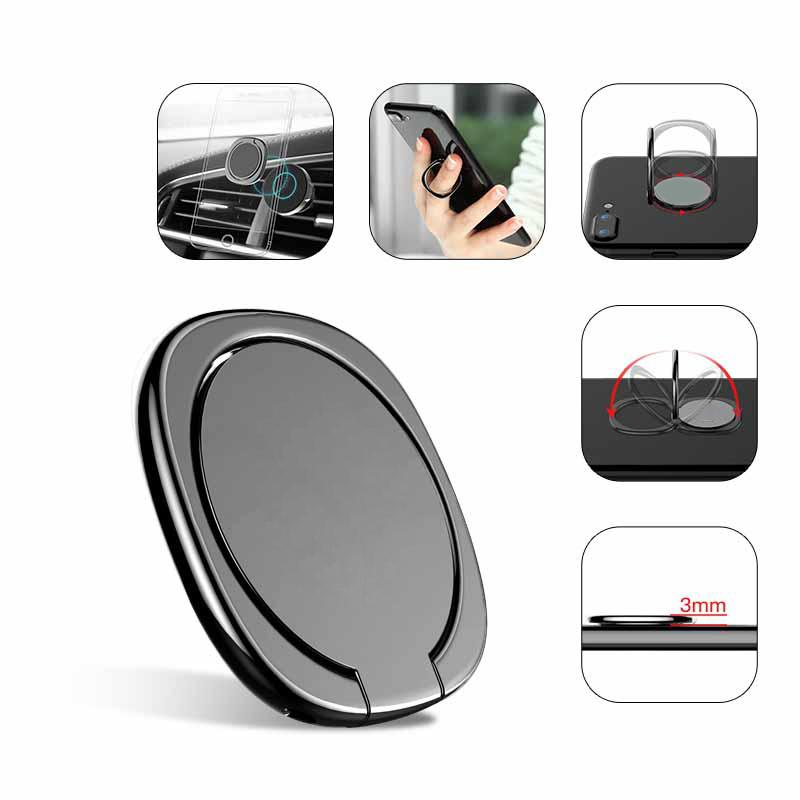 Metal Mobile Phone Socket Holder Universal 360 Degree Rotation Finger Ring Holder Magnetic Car Bracket Stand Accessories D18
