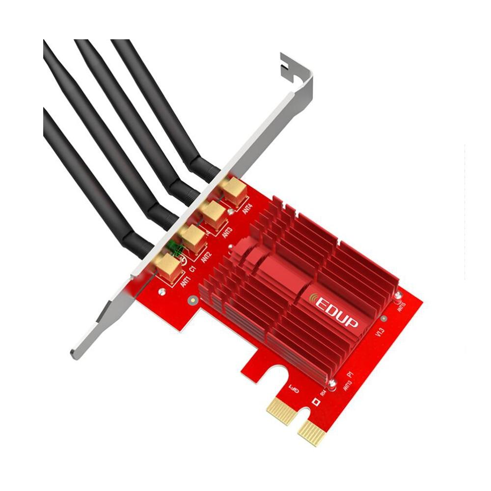 EDUP 2.4/5 Ghz double bande 1900 Mbps PCI Express adaptateur WiFi sans fil 802.11AC carte réseau PCI-E antennes 4 * 5dBi pour Win 7/8. 1/10