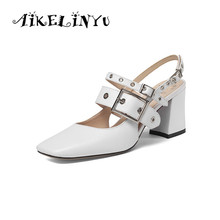 AIKELINYU Womens Sandals Genuine Leather Elegant Sexy Office Lady Metal Button Square Toe Comfortable