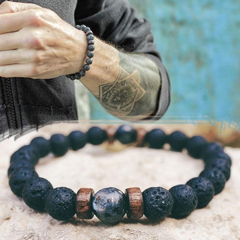 Для мужчин браслет натуральный лунный камень шарик Тибетский браслет Будды чакра вулканического камня диффузор Мужские украшения-браслет...