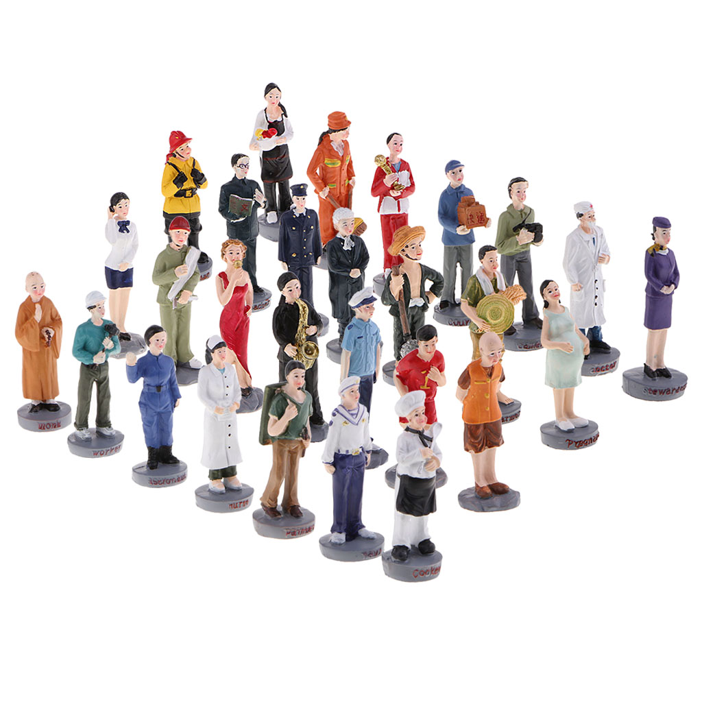 MagiDeal 1/20 Scale Resin Professionals People Figure 28Pcs HO Layout for Sand Table Railway Diorama Scenery Building