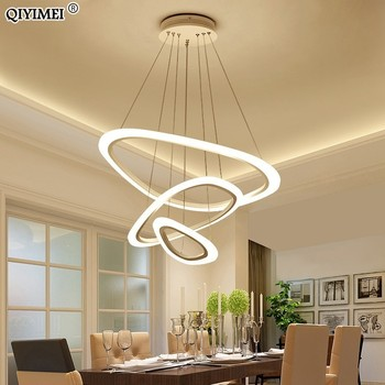 Modern LED pendant lights for living room dining room 4/3/2 Triangle Rings acrylic aluminum body LED Pendant Lamp