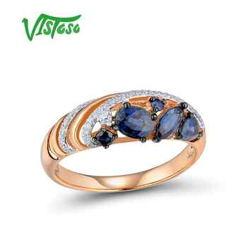 VISTOSO Gold Rings For Women Genuine 14K 585 Rose Gold Ring Sparkling Diamond Blue Sapphire Engagement Anniversary Fine Jewelry - DISCOUNT ITEM  60 OFF Jewelry & Accessories