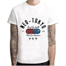 Camiseta para hombre Cool de la carrera de la calle Neo Tokyo de la camiseta de los hombres de la manga corta del Anime japonés de la motocicleta del Partido de la vendimia blanca camiseta