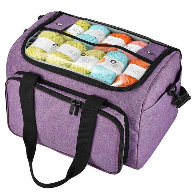 Сплетенные сумки сумка-Органайзер из пряжи с внутренним разделителем для шерсти крючки вязальные Вязание Иглы Набор для шитья Diy сумка для хранения