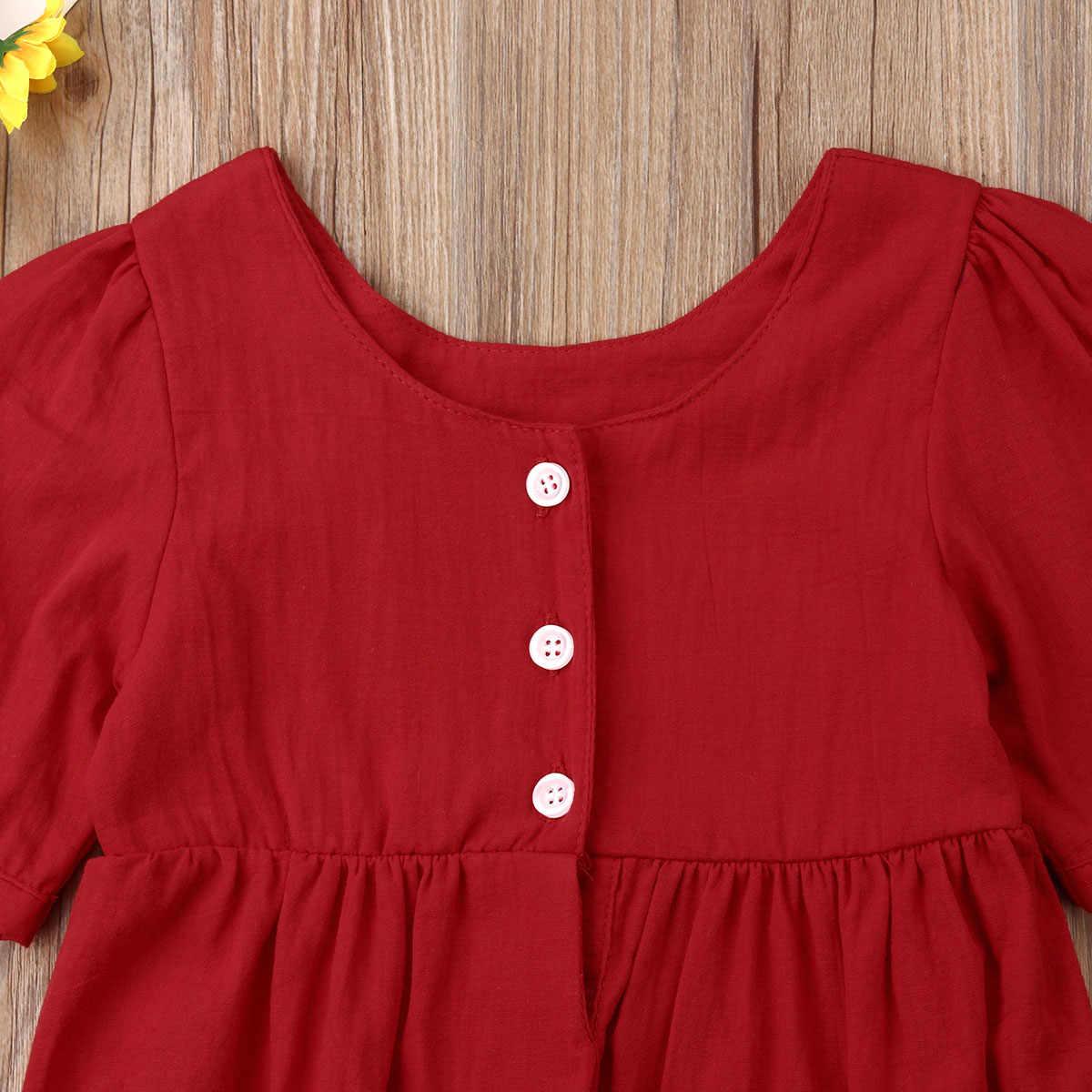 2019 Летний комбинезон для новорожденного, для маленьких девочек одежда с короткими рукавами, боди, комбинезон, пляжный костюм, одежда красный зеленый однотонный Цвет Костюмы